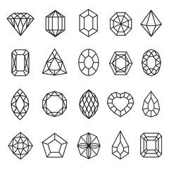 Gemstones lines icon set, geometric rock decoration