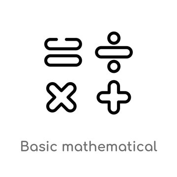 outline basic mathematical vector icon. isolated black simple line element illustration from signs concept. editable vector stroke basic mathematical icon on white background