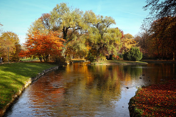 Beautiful autunnal view of the Englischer Garten in Munich with red trees reflecting on the surface of the waters of a canal