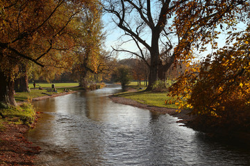 Beautiful view of Englischer garten in Munich in a sunny autumnal day with red leaves and the waters of a canal crossing the park