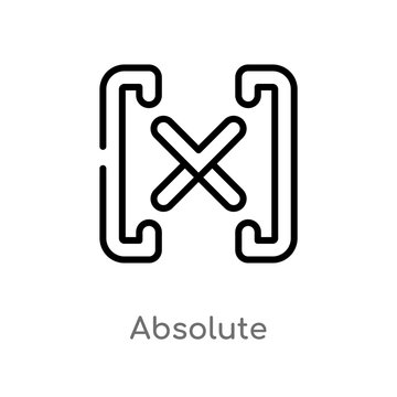 outline absolute vector icon. isolated black simple line element illustration from signs concept. editable vector stroke absolute icon on white background