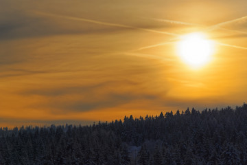 Amazing sunbeams in a golden sky above forest in a winter