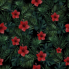 Seamless pattern with palm leaves, monstera leaves and red hibiscus flowers on a black background . Watercolor illustration.