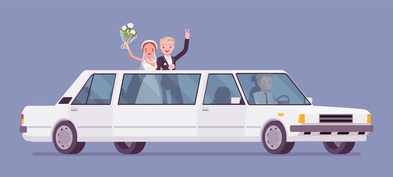 Bride and groom in limousine on wedding ceremony. Elegant man, woman in beautiful dress on traditional celebration, happy married couple in love. Marriage customs and traditions. Vector illustration