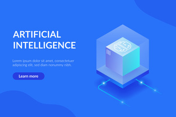 Artificial intelligence web template. The process of data processing. Large computing power. Developments in modern technologies Wall mural