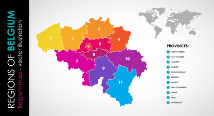 Vector map of Belgium and provinces COLOR