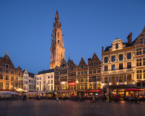 Wall Mural - Market square and Cathedral of Our Lady in Antwerpen, Belgium.