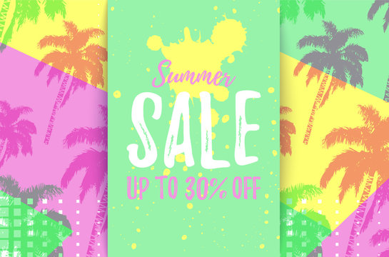 SUMMER SALE up to 30% OFF card with pattern of hand drawn palm trees. Retro tropical bargain sale. Horizontal discount poster for seasonal advert. Deal banner.