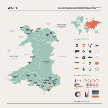 Vector map of Wales.  High detailed country map with division, cities and capital Cardiff. Political map,  world map, infographic elements.
