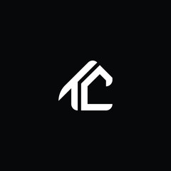 Logo design of T C CT TC in vector for construction, home, real estate, building, property. Minimal awesome trendy professional logo design template on black background.