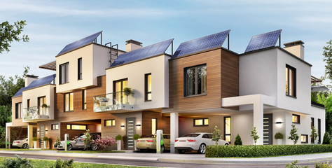 Modern townhouse with solar panels on the roof and electric cars
