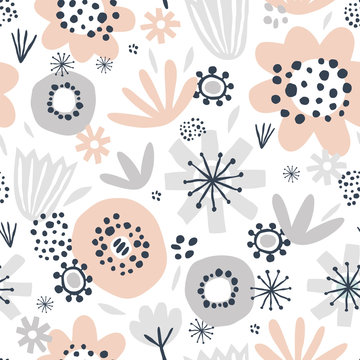 Cute seamless pattern with pink and gray flowers on white background. Great for textile, fabric, wrapper and wallpaper. Vector illustration.