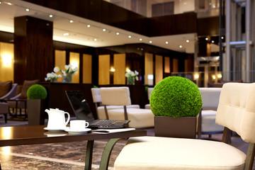 modern interior of hotel lobby