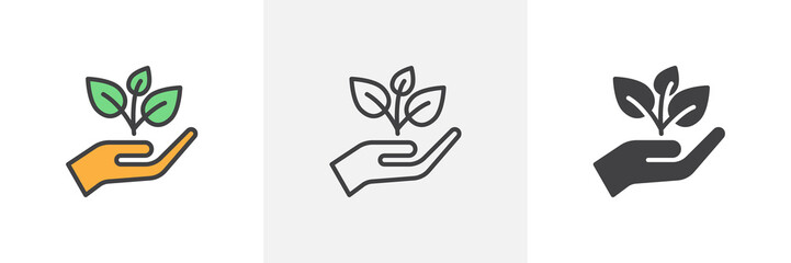 Plant, sprout in a hand icon. Line, glyph and filled outline colorful version, Hand holding plant outline and filled vector sign. Symbol, logo illustration. Different style icons set. Vector graphics