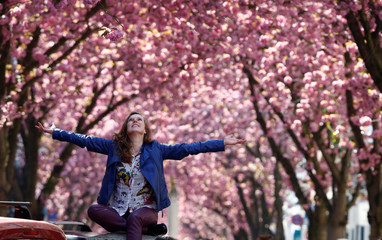 Woman gets a picture taken at the so-called Cherry Blossom Avenue in Bonn