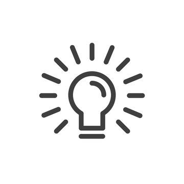 Modern light bulb Icon. Simple Design. Vector Lines