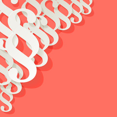 Paragraph vector white symbols in the corner on a Coral color background