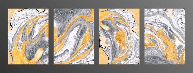 Grey and yellow marble texture backgrounds set. Wall mural