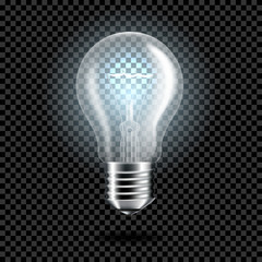 Wall Mural - Realistic transparent light bulb for dark background, isolated.