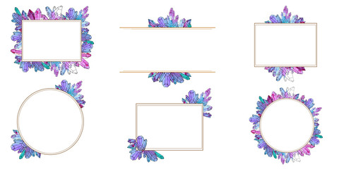 Hand painted watercolor set of crystals templates
