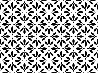 Foto op Canvas Geometrisch Flower geometric pattern. Seamless vector background. White and black ornament. Ornament for fabric, wallpaper, packaging. Decorative print