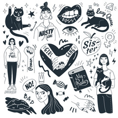 Nasty girls and grumpy cats. Vector collection of funny doodle feminist pictures and symbols. Isolated on white background.
