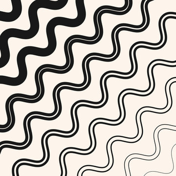 Vector geometric pattern with fading diagonal wavy lines, halftone stripes