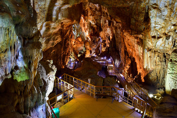 Wall Murals Kuala Lumpur Amazing geological forms in Tien Son Cave near Phong Nha, Vietnam. Limestone cave full of stalactites and stalagmites.
