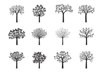 Set of black vector trees. Vector Illustration. Fototapete