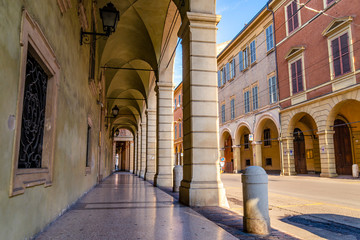 Acrylic Prints Narrow alley Modena town in Italy