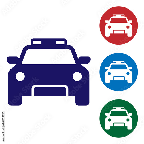 Blue Police car and police flasher icon isolated on white