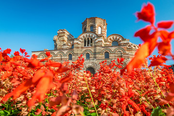 Church of Christ Pantocrator in Nessebar ancient city. Nesebar, Nesebr is a UNESCO World Heritage Site. An ancient Byzantine architecture church in Nessebar, Bulgaria on a sunny day with blue sky