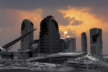 view of the destroyed post-apocalyptic city 3D render