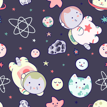 Kawaii cat astronaut in space seamless pattern. Vector cartoon charters. Editable vector illustration.