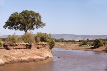 Landscape along meandering Mara River, Masai Mara kenya