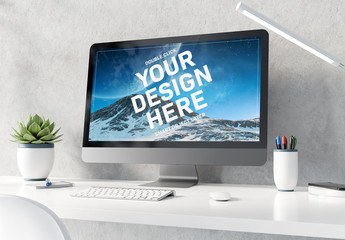 Desktop Computer on White Table Mockup