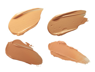 Foundation bb cc smudged sample isolated on a white background