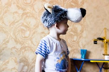 A portrait of a little boy wearing a carnival suit of wolf