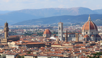 Fotobehang Florence FLORENCE panoramic view with dome bell tower