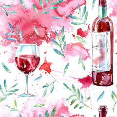 Seamless pattern of a glass wine,floral and splash. Picture of a alcoholic drink.Watercolor hand drawn illustration.