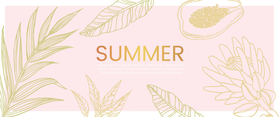 Vector hand drawn banner with exotic and tropic plants,flowers and fruit that can also be used as flyer, wedding invitation and landing page.