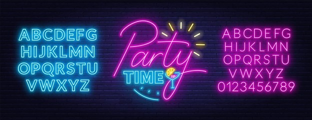 Fototapete - Party time neon lettering in retro style. Neon fonts. Vector illustration on a dark background.