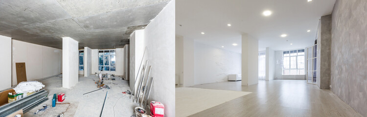 Obraz Comparison of a room in an apartment before and after renovation new house - fototapety do salonu