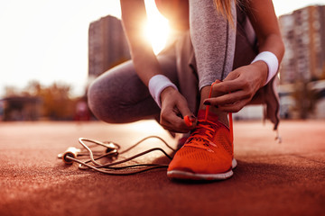 Woman preparing for jogging
