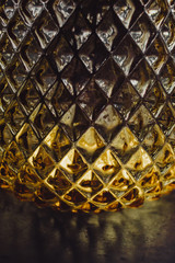 Close up of a yellow crystal vase