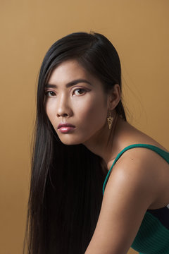 Portrait Of Asian Woman With Long Dark Hair