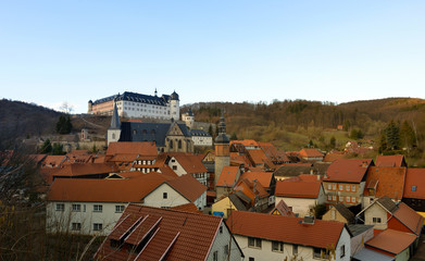Stolberg, Harz with town center and castle, panoramic view