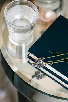 Lavender on a bedside table