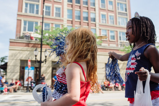 Two Friends at a USA Parade