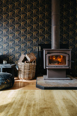 Cosy fire in a moody dark living room